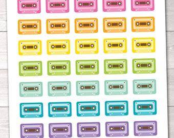 Printable Planner Stickers Cassette Tapes 80's Instant Download Printable Music Planner Sticker PDF