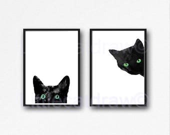 Black Cat Print Set Of 2 With Green Eyes Watercolor Print Cat Art Black and White Minimalist Prints Wall Art Wall Decor Unframed