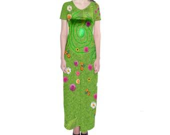 Te Fiti Moana Inspired Short Sleeve Maxi Dress