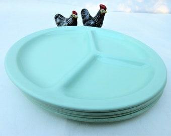 Vintage Cafeteria Trays | Divided Plates | Melamine Plates | Jadeite Green Plates | Melmac Dinnerware | Lunch Plates | Picnic | Set of 4