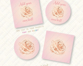 Blush Pink and Rose Gold Favor Tag Printable ombre tags Flower Gilded Bridal Shower cupcake toppers bride lingerie instant download digital
