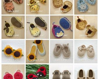 Crochet Pattern Any 10 for USD43 | Crochet Pattern Baby Booties Toddler Shoes Newborn Socks Women Home Slipper Children Kids Accessories