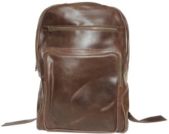 Work/ Office Waxed Leather Backpack (Brown)