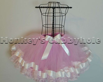 Pretty In Pink Ribbon and Lace Trimmed Tutu