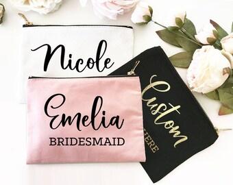 Personalized Makeup Bag Bridesmaid Gift Personalized Bridesmaid Bag Maid of Honor Gift Bag Bridal Party Gift Bag Make Up Bag (EB3222CT)