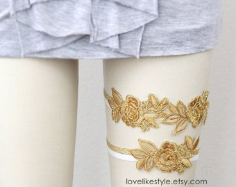 Old Gold Flower Lace Garter Set, Gold Lace Wedding Garter, Gold Wedding Garter, Toss Garter, Wedding Garter Belt/ GT-34