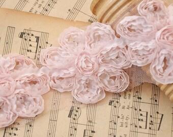 Lace trim tulle lace vivid pink rose florwers D 2.6''