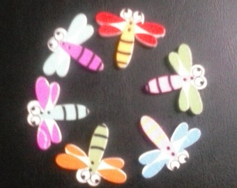 Six dragon fly buttons mixed colors for crafts,sewing and scrap books