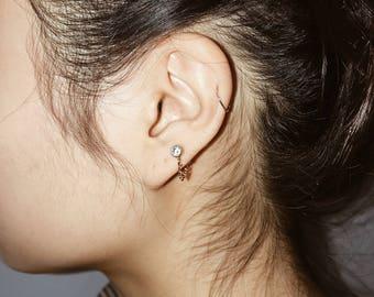 DIAMOND CHAIN // cz diamond earrings // 14K GF earring posts // Gold chain // little Gold earrings // gold posts
