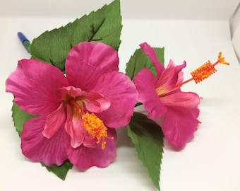 Hibiscus covered ball point pen, in blue or black ink.  Thank you gift, party favor, teacher appreciation gifts.