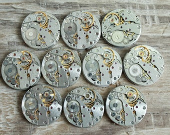 """Set of 10  watch movements 0.8"""" (20 mm) - Featured - Steampunk jewelry supplies - Watch movements for art ... Vintage ... Steampunk Findings"""