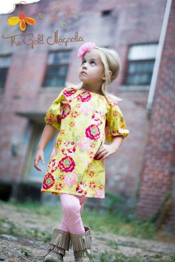 Girls Floral Gold and Pink Peasant Dress – Gold and Pink Dress – Pink and Gold Boutique Dress – Gold Rose Dress – Pink Peasant Dress – Gold