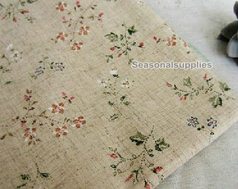 Flower Cotton Linen Fabric,Floral,Leaf,Pattern,Vintage Style,diy,Sewing  1/2 yard (QT182)