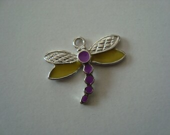 Purple, yellow and silver Dragonfly charm