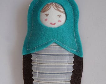 Russian doll felt hanging / / blue and chocolate