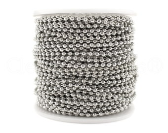 100 Feet - Antique Silver (Platinum) 2.4mm Ball Chain - With 100 Connectors - For Necklaces, Jewelry, Dog Tags, Pendants - Bulk Spool Bead