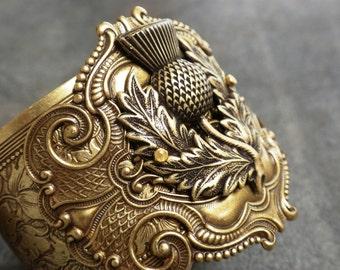 Outlander Jewelry Scotland Thistle Scottish Statement Cuff Bracelet