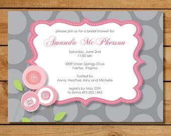Pink and Gray Bridal Shower Invitation - Pink Rosebud