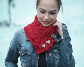 Hand Knit Wool Red Scarf, Red CLASSICA by Solandia, Heartshaped buttons, Christmas Gift, Knitted Gift, Valentines day gift