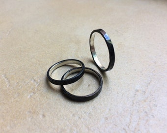 Hand forged Silver Rings blackened * Unisex *