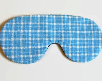 Light Blue Plaid Adjustable Sleeping Mask, Eye Mask, Blue Sleep Mask, Lightweight Sleep Mask