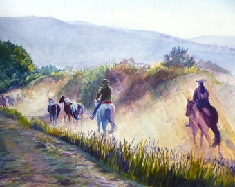 Bringing in the Herd - Watercolor Painting Reproduction Print