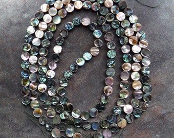 4 Strands 10mm Abalone Shell Coin Beads