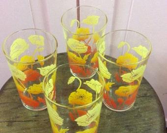 Vintage Drinking Glasses, Vintage Tumblers, Vintage Juice Glasses, Poppies, Retro Drinking Glasses, Set Of Four, Ombre, Vintage Kitchen