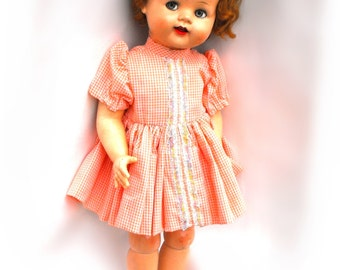 RARE 1954 Saucy Walker Posie Ideal Praying Knee Transition Doll Vintage Flirty Eyes Shirley Temple Curly Hair Original Dress Collectible Toy