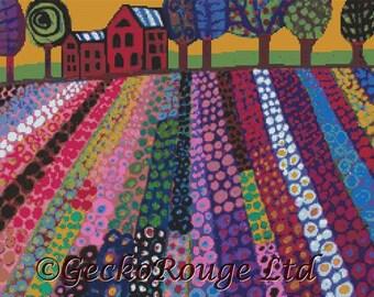 Modern Cross Stitch Kit 'Modern Red Barn'' By Heather Galler - cross stitch art