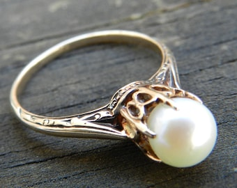 Pearl Ring Rose Gold Vintage Pearl Engagement Ring Cathedral Pearl Ring Unique Engagement Ring Edwardian June Birthday Gift