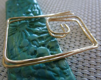 Free Shipping. Rectangle Hoops Earrings. VAL. Solid Brass .18 gauge. hammered Surface