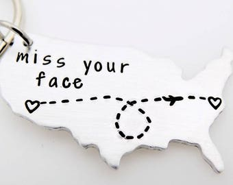 CUSTOM Long Distance Relationship KEYCHAIN - USA - I Miss You - add your own Personalized Message going away gift for her or him
