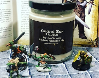 Fighter Scented Tabletop Soy Candle with Random Polyhedral Die Inspired by Dungeons & Dragons and Pathfinder