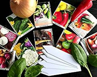 Rainbow Vegetables Seed Collection - 10 packets/40 Varieties ORGANIC/NON GMO -Plant markers+instruction included