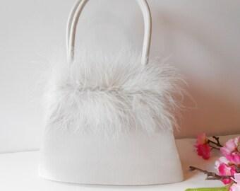 White Evening Bag, Feather Trim, Wedding Bridal, Glamorous Handbag, Glamour Accessory, Special Occasion, Red Carpet Bag  EB-0493