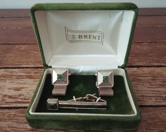 Brent vintage cuff links and tie clip