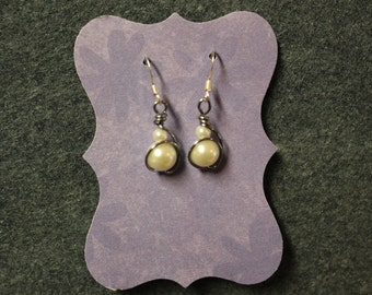 White pearl wire wrapped dangle earrings