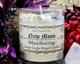 New Moon~Manifesting Lunar Ritual Candle~Dark Moon Phase Witchcraft candle witch candle Goddess Full Moon Gypsy Witch Moon  Magick Luna Sage