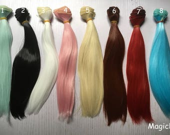 25*100cm doll wig material high-temperature material straight hair wig for bjds/blythe/barbie 16 colors
