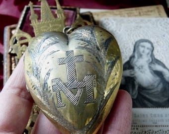 1800's French Silver Gilt Sacred Heart Antique French Virgin Mary Heart Reliquary, offered by RusticGypsyCreations