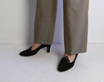 VINTAGE 1950s Heels Black Lace Pumps Womens Shoes Size 6.5 Size 7