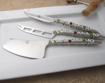 Hand wire wrapped and beaded 3 piece cheese tool set - wine country