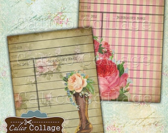 Collage Sheet, Library Cards, Vanity Flair, Junk Journal, Digital Cards, Digital Library Card, Vintage Flowers, Digital Tags, CalicoCollage