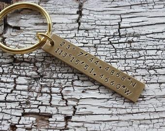 Custom Coordinates Keychain, Latitude longitude Keychain, Custom keychain ,coordinate keychain , Personalized keychain
