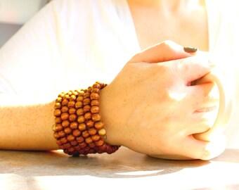 Wood bracelet, Wrap bracelet, beaded bracelet, wrap cuff