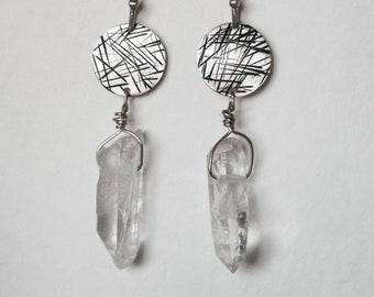 Raw crystal earrings Amethyst quartz gemstone geometric Sterling silver earrings dangle earrings graduation gift for her Raw jewelry