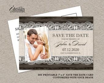 Printable Save The Date Postcard, Rustic Save The Date Postcard, Photo Save The Date Postcard, Save The Date Postcard, Wedding Save The Date