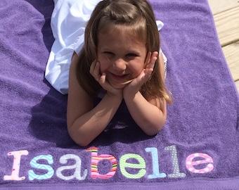 Personalized Beach Towel- Girls Boys- Bath Towel- Appliqued Childrens