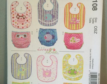 McCalls Pattern M6108 OSZ Craft Pattern for various baby bibs diaper cover with monkey fish lady bug elephant crown frog appliqué